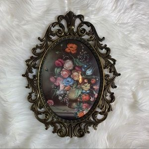 Vintage Convex Glass Floral Picture Brass Frame